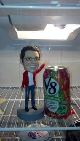 Is that a Nic bobble head or a John Krasinski bobble head? Hard to tell. (Ignore the V8... I don't even have an explanation.)